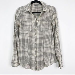 Rubbish Lightweight Button Front Plaid Top Gray S